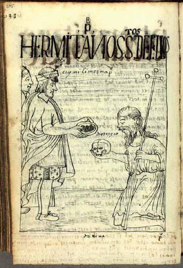 Un padre ermitaño de rodillas recoge limosna para los pobres. (pág. 645)