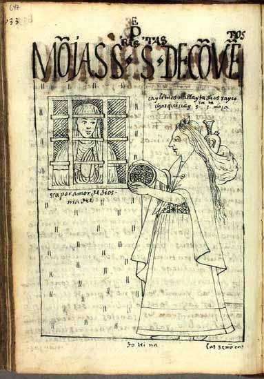 """Una monja, """"señora santa de convento"""", recibe limosna. (pág. 647)"""