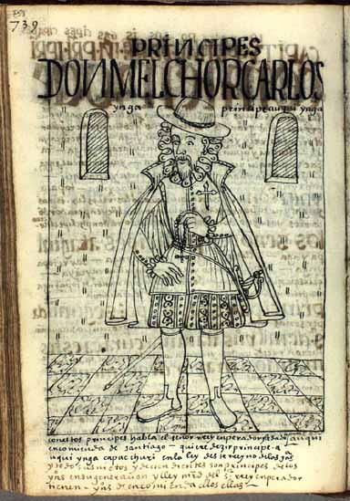 Don Melchor Carlos Ynga, príncipe natural de este reino, que recibe del rey español el título de la Orden de Santiago (pág. 753)
