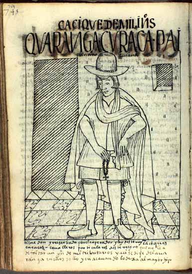 Paytan Anolla, Lucana, waranqa kuraka, principal que tiene mil indios tributarios del rey (pág. 759)