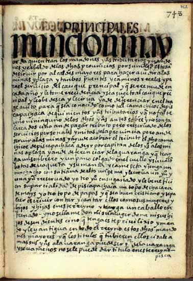 Mandones y mandoncillos de indios tributarios, pág. 762