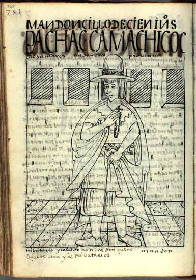 Grauiel Cacyamarca de la provincia de Andamarca, pachaka kamachikuq, mandoncillo de cien indios tributarios (pág. 765)