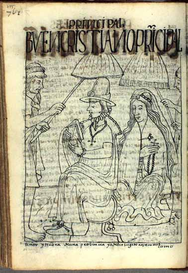 Exemplary Christians: A local Andean lord, seated on an usnu, or Inka ceremonial seat, reads to his wife. (p.775)