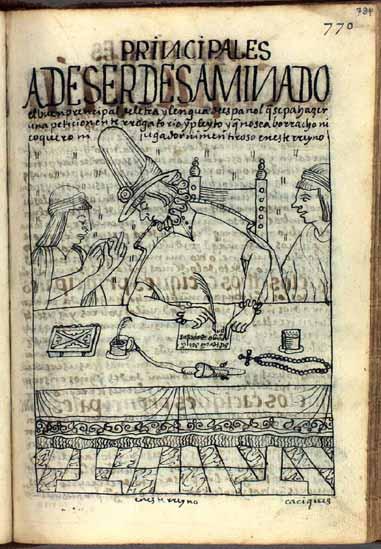 Un honrado principal andino redacta un pleito a nombre de un indio tributario. (pág. 784)