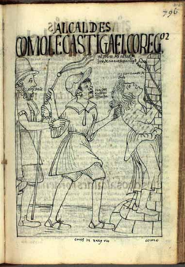 El corregidor ordena a un esclavo africano castigar al alcalde ordinario porque faltan dos huevos en el tributo. (pág. 810) (Ver también pág. 503.)