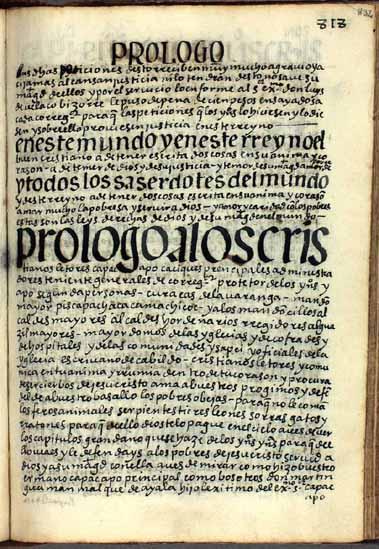 Prólogo a los señores principales y administradores andinos, pág. 832