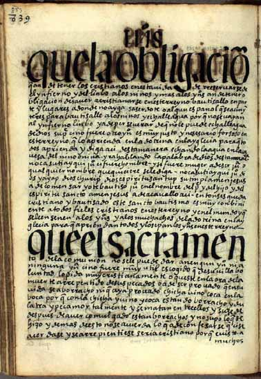 Sacramentos obligatorios y buenas obras de indios cristianos, pág. 853