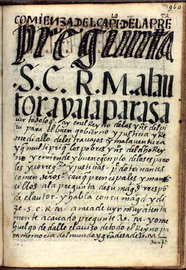 """32. El capítulo del diálogo de Guaman Poma con el rey (974-999)    [Ver también cap. 31., """"El capítulo de las consideraciones"""", pág. 944-948]"""