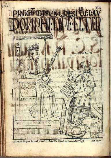 """""""El autor Ayala"""" presenta su Corónica a Felipe III, rey de España. (pág. 975)"""