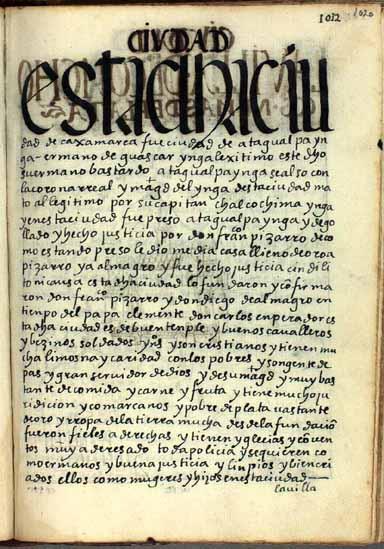 """La ciudad de Cajamarca, """"ciudad de Atagualpa Ynga"""", pág. 1020"""
