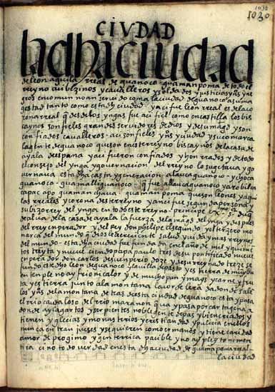 """La ciudad de Guanoco, """"águila y león real, waman puma"""", pág. 1038"""