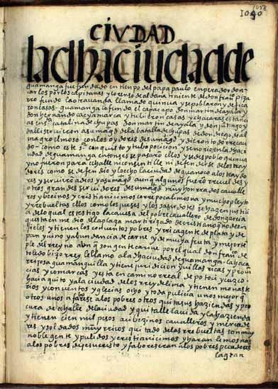 """La ciudad de Guamanga, """"fundada por el qhapaq apu don Martín de Ayala"""", pág. 1058"""