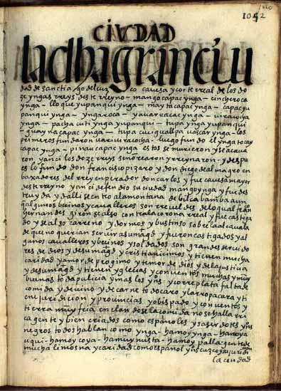 La ciudad del Cuzco, cabeza y corte real de los doce reyes Yngas de este reino, y obispado de la iglesia, pág. 1060
