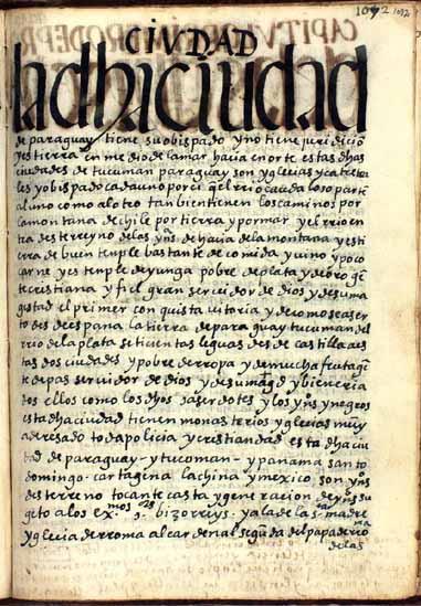 La ciudad de Paraguay, obispado, pág. 1082