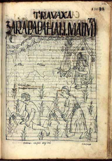 Enero: maíz, tiempo de lluvias y de aporcar; Qhapaq Raymi Killa, mes del mayor festejo (pág. 1142)