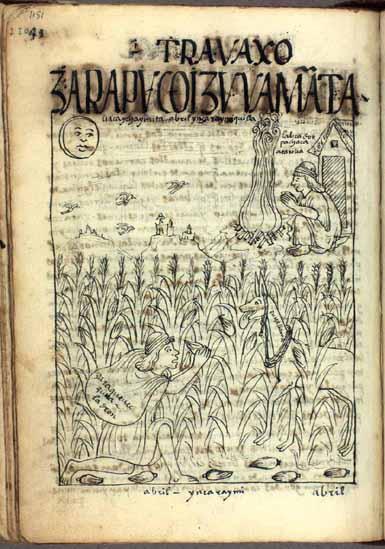 Abril: maduración del maíz, tiempo de protegerlo de los ladrones; Inka Raymi Killa, mes del festival del Ynga (pág. 1151)