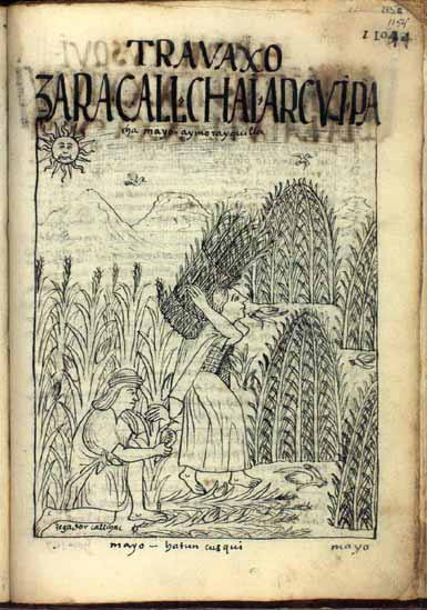 May: Time of reaping, of gathering the maize; Aymuray Killa, month of harvest (p.1154)