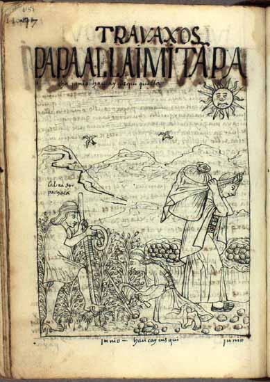 Junio: tiempo del turno de la cava de papa; Hawkay Kuski Killa, mes del descanso de la cosecha (pág. 1157)
