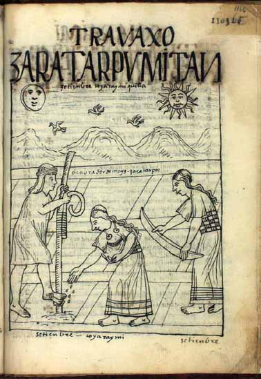 Septiembre: ciclo de sembrar maíz; Quya Raymi Killa, mes del festejo de la reina, o quya (pág. 1166)