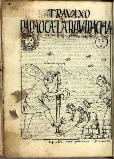 December: Time of planting potatoes and uqa, tubers; Qhapaq Inti Raymi Killa, month of the festivity of the lord sun (p.1175)
