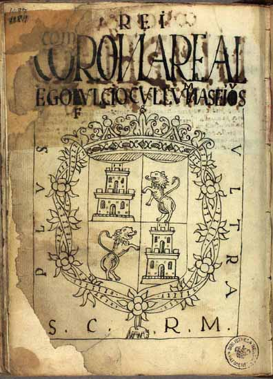 "The coat of arms of the Spanish crown, ""Ego fulcio collumnas eius."" (p.1189)"