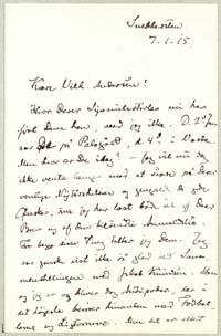 Henrik Pontoppidan til Vilh. Andersen 7.1.1915.