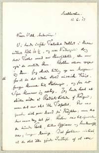 Henrik Pontoppidan til Vilh. Andersen 11.6.1917. Brev - side 1