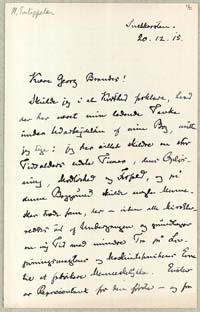 Henrik Pontoppidan til Georg Brandes 20.12.1915.