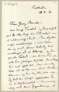 Henrik Pontoppidan til Georg Brandes 17.7.1916.