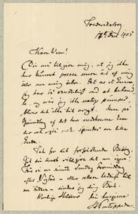 Henrik Pontoppidan til Henrik Cavling 17.12.1905.