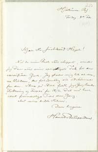 Henrik Pontoppidan til Frederik V. Hegel 8.2.1884.