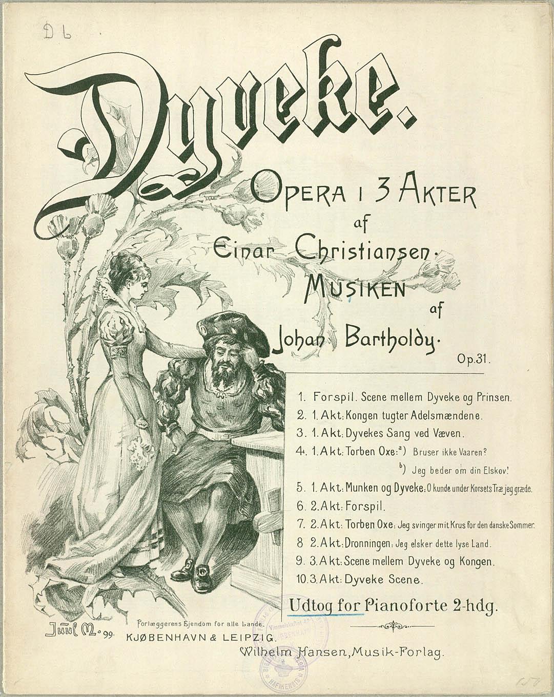Titelbladet til Bartholdys opera 'Dyveke', udgivet i 1899. Klik for større billede