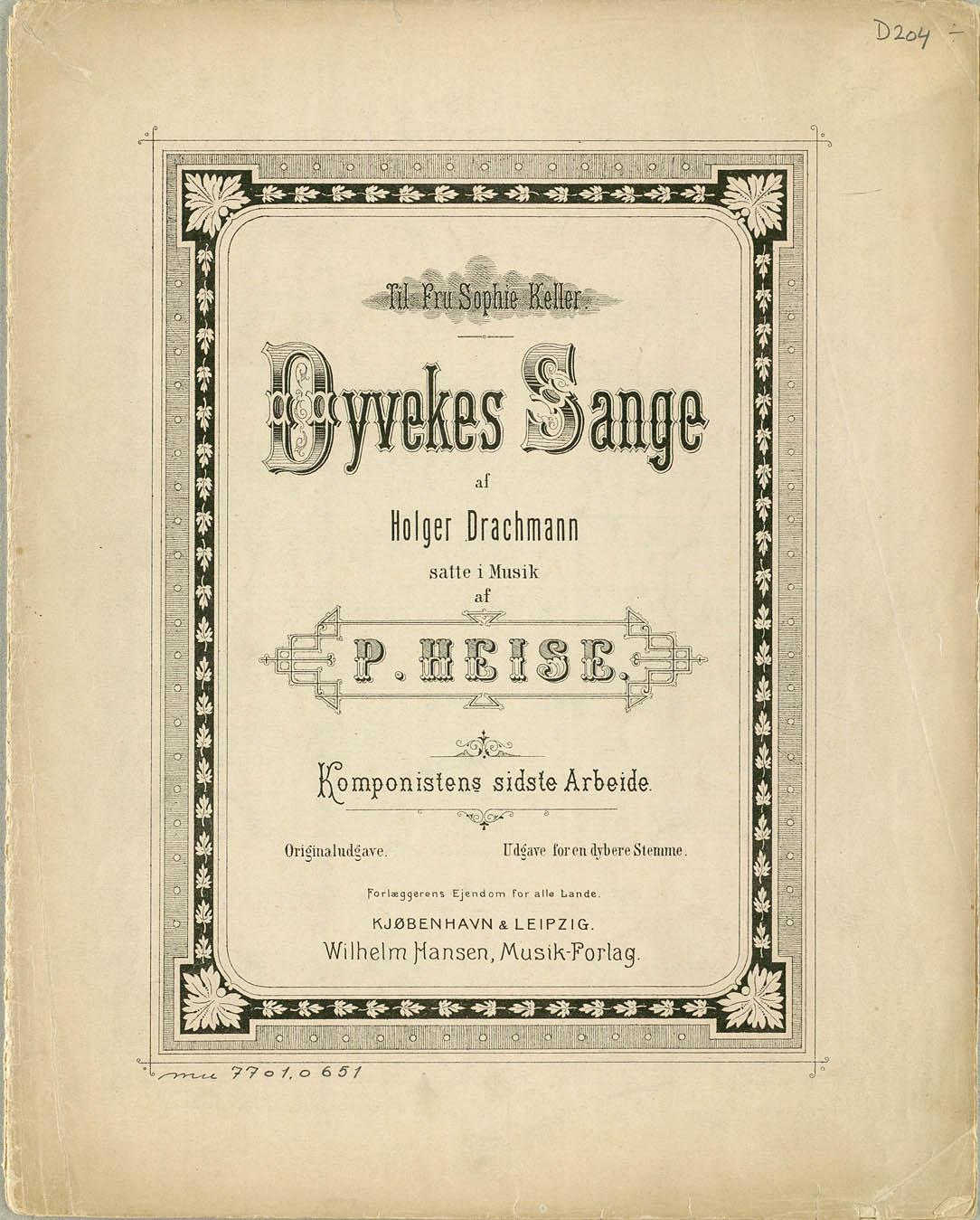 Titelbladet til den danske udgave af Dyveke-sangene. Bringes med venlig tilladelse fra Edition Wilhelm Hansen. Klik for større billede.