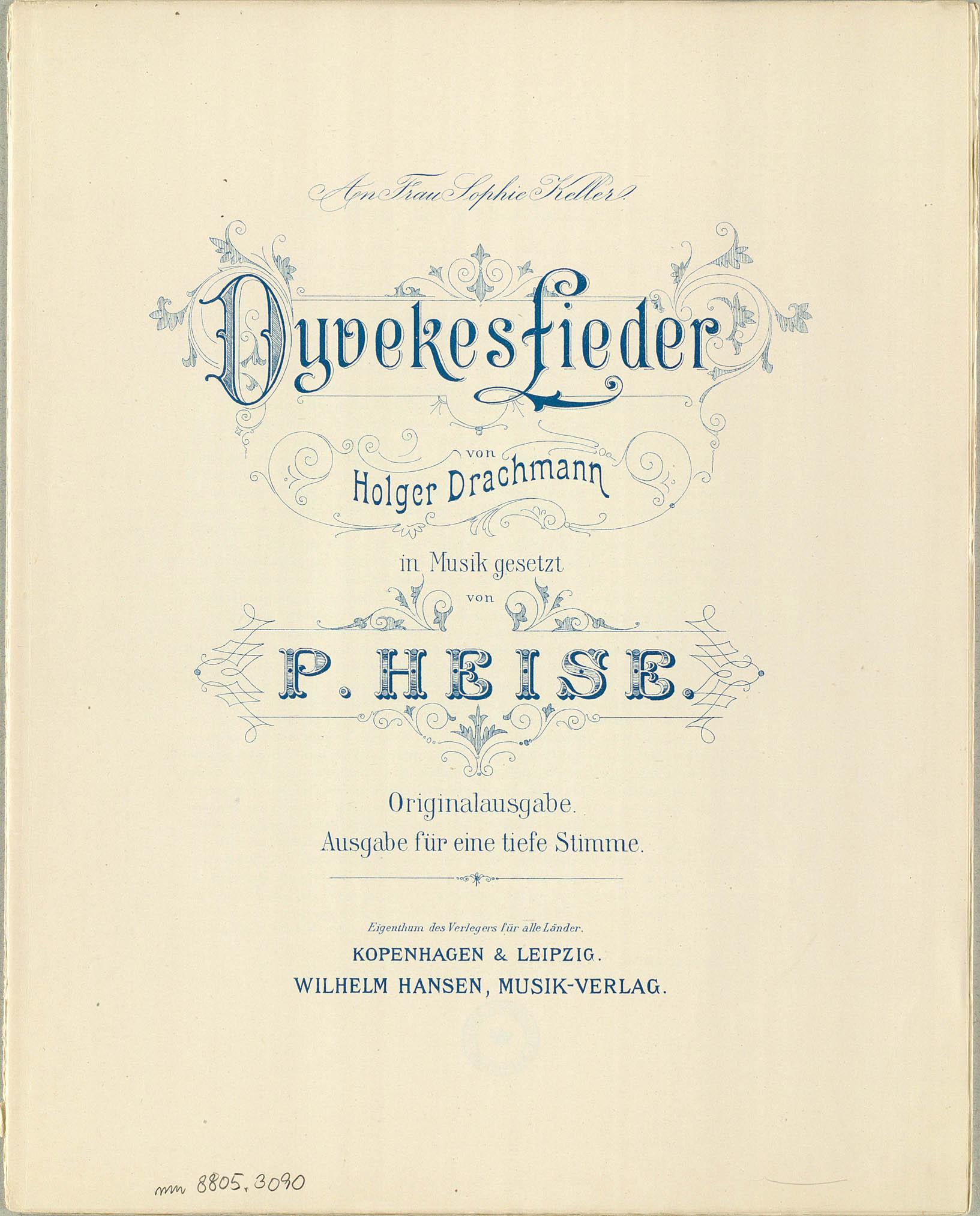 Titelbladet til den danske udgave af Dyveke-sangene. Klik for større billede