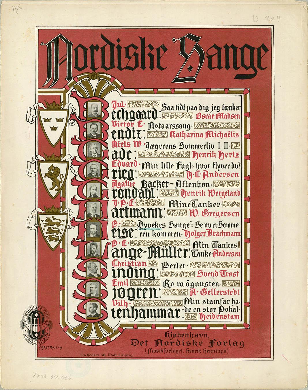 Den syvende af Heises Dyveke-sange udkom først i 1896 i dette samleværk, som dog også blev udgivet i enkelthæfter. Med venlig tilladelse fra Edition Wilhelm Hansen. Klik for større billede.