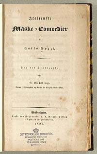 Titelbladet til oversættelsen af Gozzis komedie. Klik for større billede