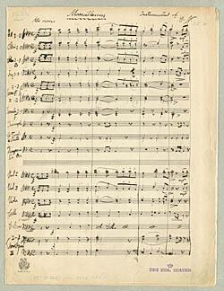 Nodeside fra Carl Nielsens instrumentation af 'Marseillaisen'. Klik for større billede